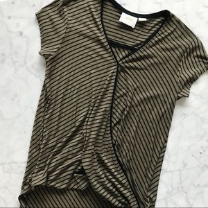 🌿Anthropologie Maeve Leila Stripe Faux Wrap Top